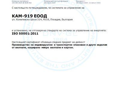 Сертификат ISO 50001:2011
