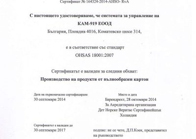 Certificate OHSAS Bulgarian