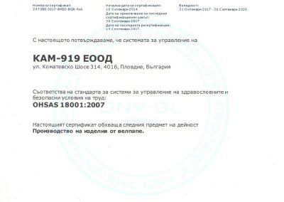 Сертификат OHSAS 18001-2007 до 30092020
