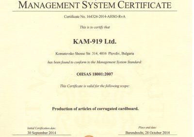 Certificate OHSAS-18001